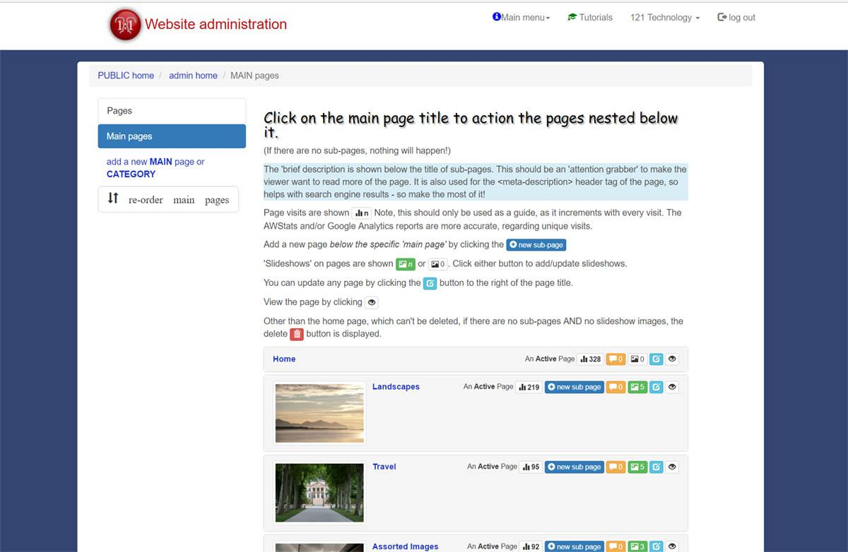 Managing pages in your template site